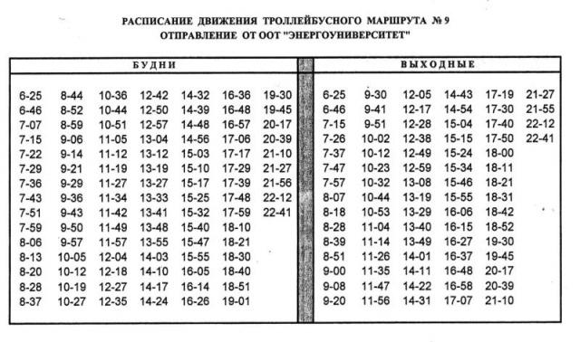 движения троллейбуса № 9